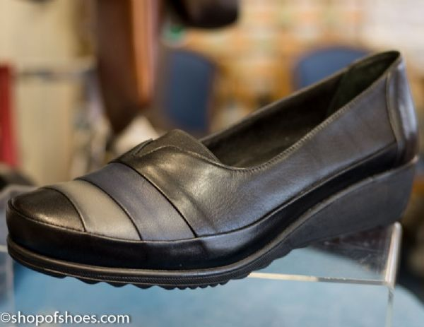 Soft black leather low fronted slip on shoe.
